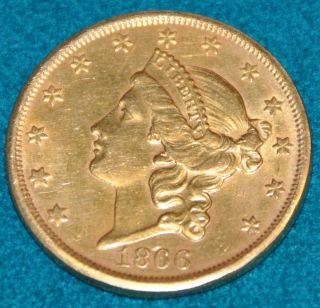 1866 s $20 Gold Double Eagle with Motto AU Quality
