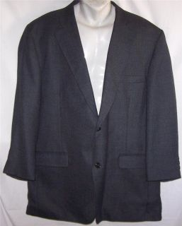 48L Haggar BLACK NAVY BLUE TWEED WOOL Bld sport coat suit blazer