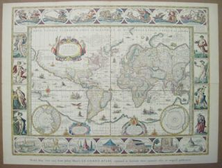 Johan Blaeus World Map from Third Centenary Edition of Le Grand Atlas