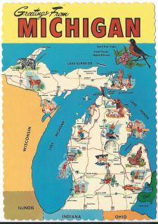 Postcard Michigan Greetings State Map Bird Animal Great Lakes MINT