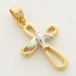 Delicate Gold Plated Cross Dove Charm Holyland Pendant