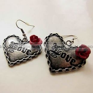 Heart Letter Love Red Rose Design Ear Pin Earring FAEAR131