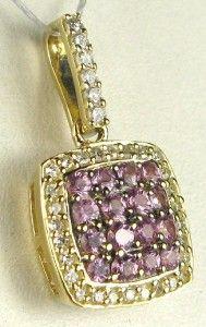 Designer Effy 14k Gold .75ctw Pink Sapphire & Diamond Pendant Retail $