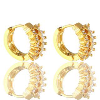 Jewelry Lady *Hoop Fine Clear Topaz Yellow Gold GP Earrings Earings