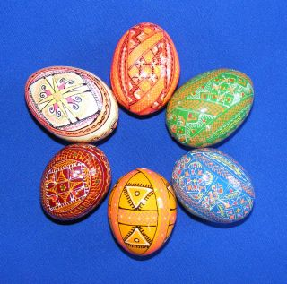 Wooden Ukrainian Pysanky Easter Painted Eggs