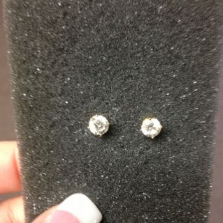 Ct Genuine Diamond Earrings Gold Stud Settings PRICE REDUCED