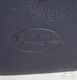 Onna Ehrlich Navy Pebbled Leather Zip Pouch NEW