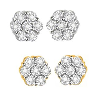 Diamond Sterling Silver Flower Stud Earrings for Men and Women
