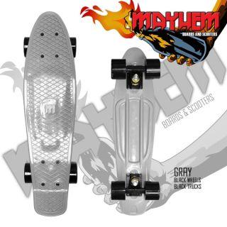 Mayhem Complete Cruiser Skateboard Gray Black Wheels