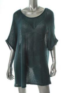 Eileen Fisher Blue Wool Scoop Neck Short Sleeve Pullover Sweater Plus