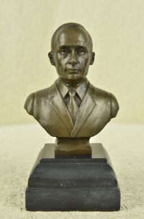 Signed Original Dwight Eisenhower Bust Bronze Statue Marble Base