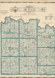 Butler Township; Scott County, Iowa Plat Map Showing Landowners