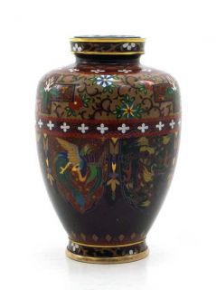 Ando Fenghuangs and Dragons Japanese Cloisonne Vase large photo