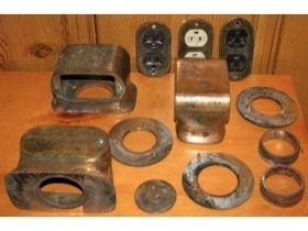 Lot of Antique Solid Brass Lew Electric Floor Monuments