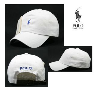 Polo Baseball Cap Ralph Lauren White Cap with Blue Small Logo