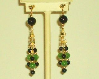 14k Solid Gold Green Jade Black Onyx Elegant Earrings