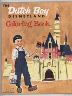 Dutch Boy Disneyland Coloring Book 1957 Unused Cond