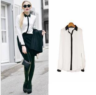 Basic Style Elegant Lady Vintage Soft Touch Svelte Tops Blouse Shirt s