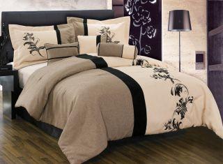 pcs Brown Cream Black Floral Linen Duvet Cover Set Queen NEW
