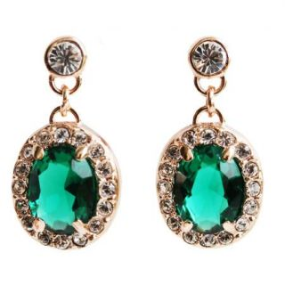 Emerald Use Swarovski Crystal Gold GP Wedding Bridal Stud Dangle
