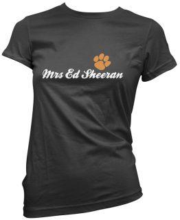 Mrs Ed Sheeran Womens Girls Black Paw T Shirt Top Premium Cotton New