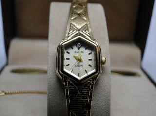 new vintage elgin ladies diamond quartz wrist watch nos