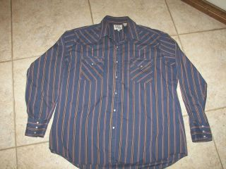 Mens Eli Cattleman Western Shirt with Pearl Snaps Size 17 35