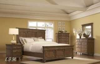 New 4pc Eastover Antique Brown Wood Panel Bedroom Set