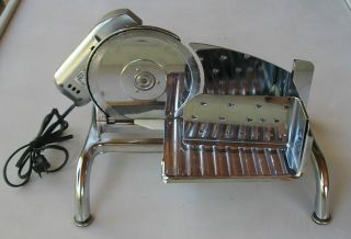 VINTAGE RIVAL ELECTRIC FOOD SLICER STAINLESS STEEL MODEL 1101E 4 WORKS