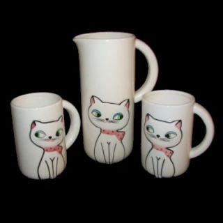 Vintage Holt Howard Cozy Kitten Pixie Pitcher & 2 Mugs   RARE PITCHER