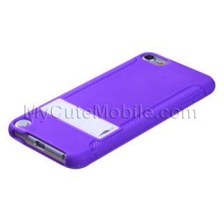 Apple iPod Touch 5G 5th Gen Case   Purple/White Gummy TPU Skin Cover w