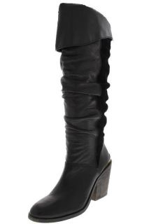Famous Catalog NEW Edina Black Leather Suede Knee High Boots Heels