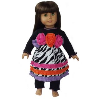 AnnLoren 2 piece Zebra Rainbow Rose Outfit fits AMERICAN GIRL DOLL
