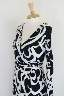 ECI New York Black White Faux Wrap Abstract Jersey Knit Dress Size 10