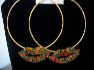 Basketball Wives Earrings 3 Bling Gold Hoops Lips Rhinestones