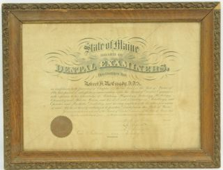 State of Maine Board of Dental Examiners Certificate