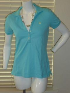 Eddie Bauer Light Blue Aqua V Neck Polo Cotton Stretch Top Shirt