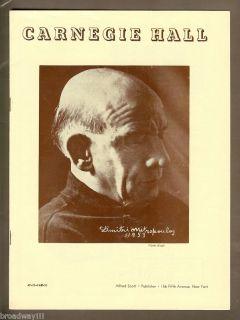 Violinist Mischa Elman RARE 1953 Carnegie Hall Program