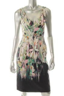 Elie Tahari Camellia Blue Printed V Neck Sleeveless Wear to Work Dress