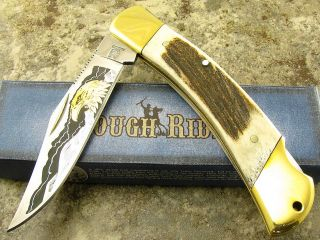 Rough Rider 5 Stag Handle Bald Eagle Etch Folding Blade Lockback
