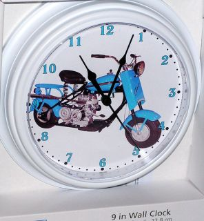 Classic Cushman 1957 Blue Eagle Scooter Custom Motorcycle Wall Clock