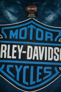 Vtg Mens Harley Davidson Elyria Ohio Long Sleeve Tie Dyed T Shirt Blue