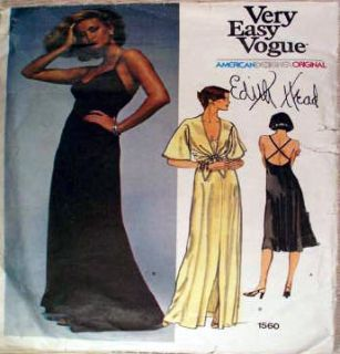 Vintage Vogue Designer Pattern Edith Head Slinky Evening Dress Jacket