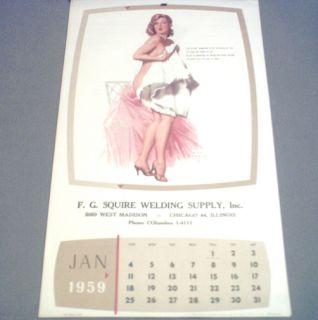 VINTAGE EARL MORAN 1959 COMPLETE PIN UP CALENDAR MARILYN MONROE N MINT