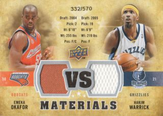 Upper Deck vs Dual Materials vs OW Emeka Okafor Hakim Warrick