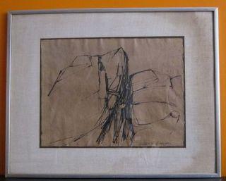 Edmond Casarella 1920 96 RARE American Original Ink Drawing 1957 NJ NY