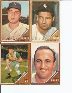 1962 topps cards Johnny Podres Early Wynn Vern Law Frank Torre