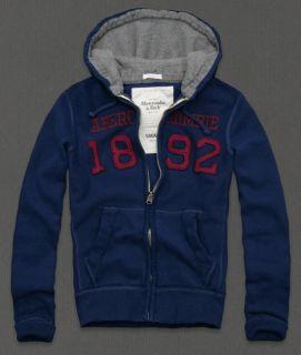 Abercrombie Mens Sweatshirt ELK LAKE Hoodie Jacket Fleece Zip Up Blue