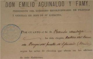 Signed Document Emilio Aguinaldo Katipunan Seal 1898 RARE San Fernando
