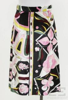 Emilio Pucci Black & Pink Printed Velvet A Line Skirt Size 6